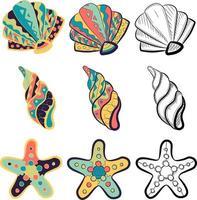 paquete pequeño con elementos marinos: almejas, conchas, ostras y estrellas de mar. vector