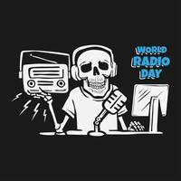 día mundial de la radio con el concepto de diseño de calavera