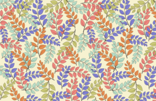 Colorful Leaves Seamless Fabric Pattern