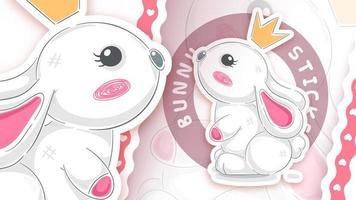 Rabbit with crown in sticker style vector