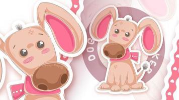 Cute puppy in sticker style