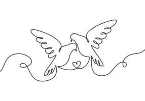 par de pájaros enamorados. un dibujo de línea continua, dos palomas voladoras. vector