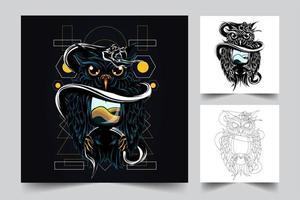 owl snake artwork illustration vector