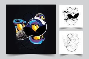 mushroom lamp artwork illustration vector