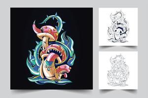 mushroom monster artwork illustration vector