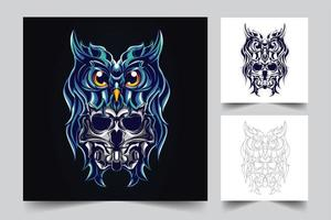 owl and skull artwork illustration vector