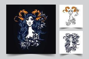 lady rose artwork illustration vector