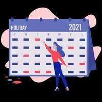Vector de concepto de calendario de vacaciones 2021