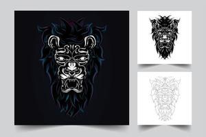 Ilustración de ilustraciones de león enojado vector