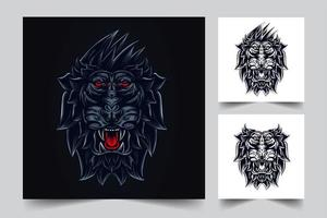 angry lion artwork vector