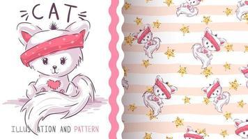 Cute pretty cat seamless pattern vector