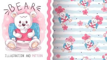 Cute school bear seamless pattern vector