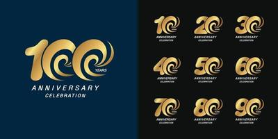 Set of anniversary logotype vector