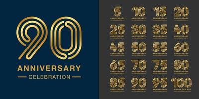 conjunto de logotipo de aniversario premium vector