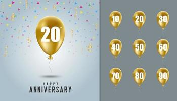 Set of happy anniversary background vector