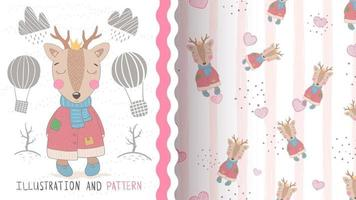 Cute deer in winter clothes, seamless pattern