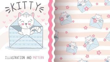 gatito en patrón sin costuras sobre vector