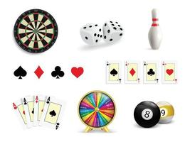 Set of illustrations of gambling. Poker, Casino, Darts, Bowling, Wheel of Luck and Dice. vector