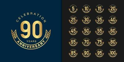 Golden anniversary celebration emblem design set