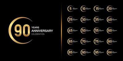 Conjunto de diseño de emblema de celebración de aniversario de oro vector