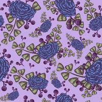 Retro indigo seamless pattern with blue roses and leaves vector