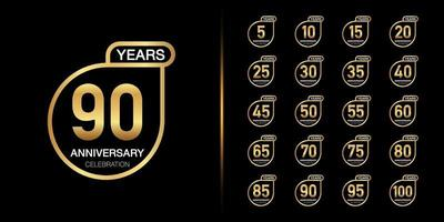Golden anniversary celebration emblem design set vector