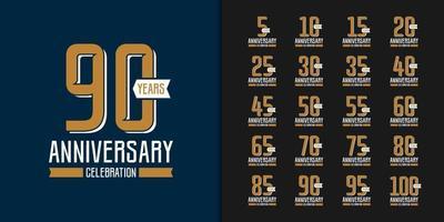 Golden anniversary celebration emblem design set vector