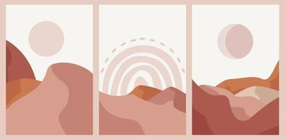 Set of abstract boho landscape line art vector background