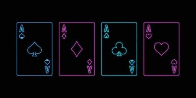 Neon sign of playing aces cards on the black background. vector