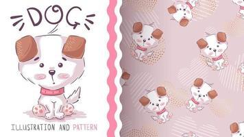 Cute cartoon puppy, seamless pattern vector