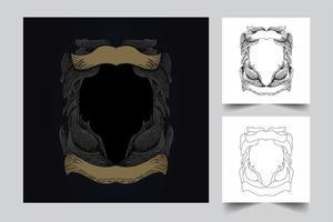 ornament frame artwork illustration set vector