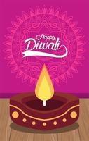 happy diwali celebration with candle wooden in pink background vector