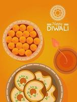 happy diwali celebration with candle and food in yellow background vector