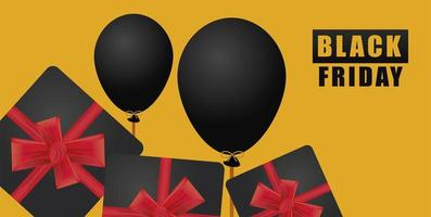 black friday sale banner with gifts and balloons helium vector
