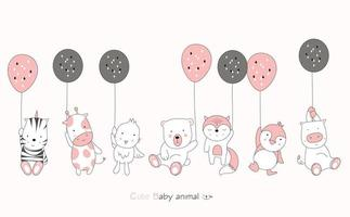 Cartoon cute baby animals with balloons on pink background. Hand drawn cartoon style. vector