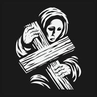 una mujer vestida con una túnica sosteniendo una cruz vector