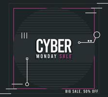 cyber monday sale poster with pink square frame vector