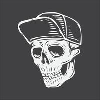mano, dibujo, cráneo, llevando, sombrero vector