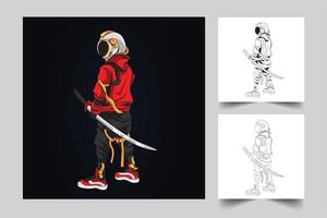 ilustración de arte de espada de astronauta vector