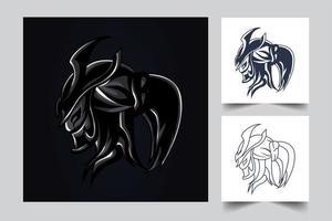 dark ronin artwork illustration set vector
