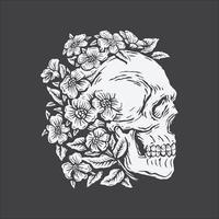 mano, dibujo, cráneo, rodeado, por, flor rosa vector