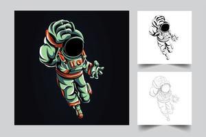 astronaut fight artwork illustration vector