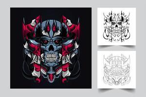 ilustración de arte de cráneo mecha vector