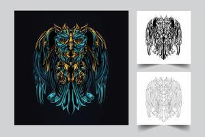 owl robotic artwork illustration vector