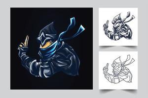 ilustración de arte de esport de guerra ninja vector