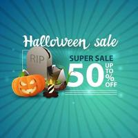 Halloween sale, -50 off, blue modern banner with tombstone and pumpkin Jack