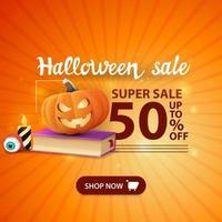 Halloween sale, -50 off, orange modern banner with spell book and pumpkin Jack