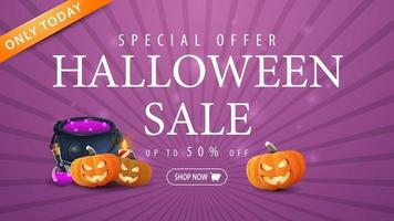 Halloween sale, purple horizontal banner with 50 off, witch's pot and pumpkin Jack vector