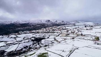 Aerial Footage of a Small Mountain Village in Winter