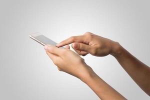 mano de mujer, tenencia, teléfono inteligente, pantalla en blanco foto